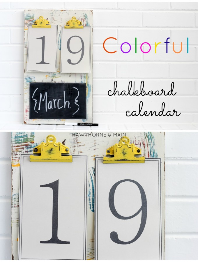 DIY Colorfull Chalkboard Calendar
