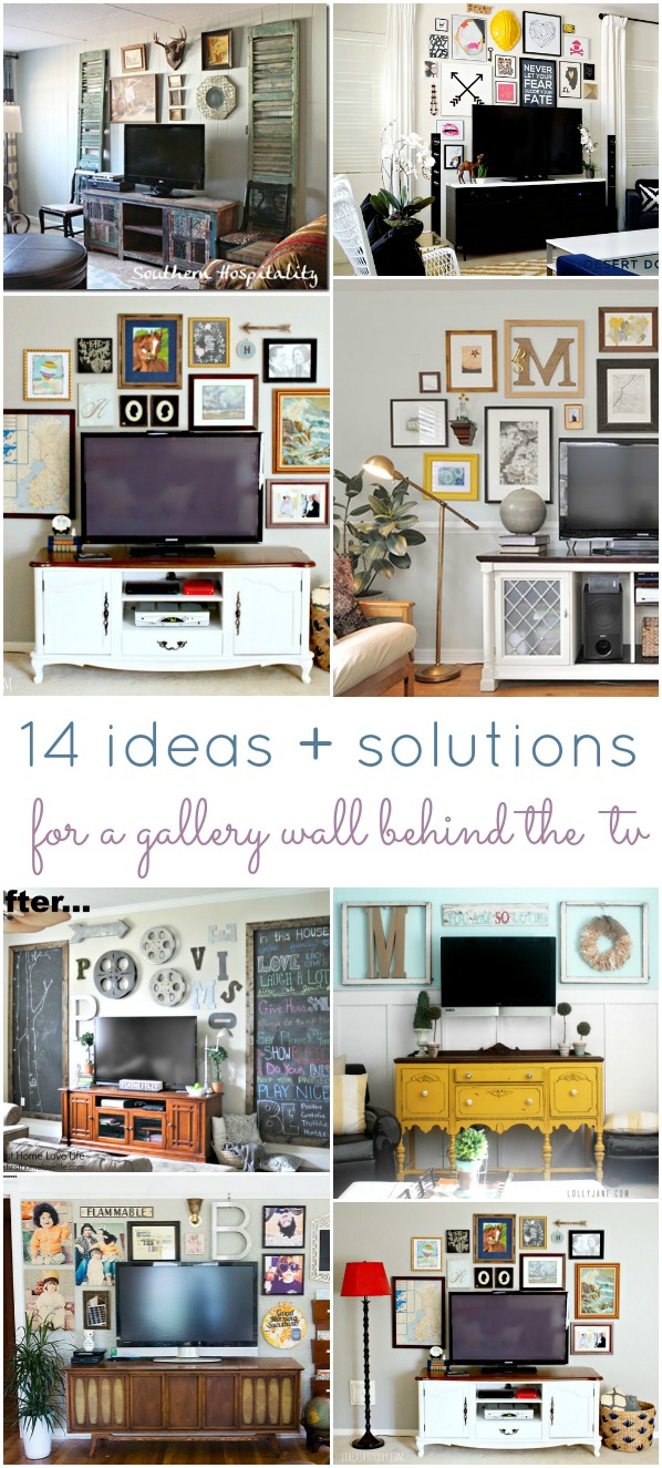 14 ideas solutions for a gallery wall behind the tv for Tv solutions for living room