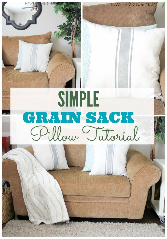 Check out these DIY grain sack pillows! They don't look that hard to make. Plus, I already have a sewing machine. Totally making these!