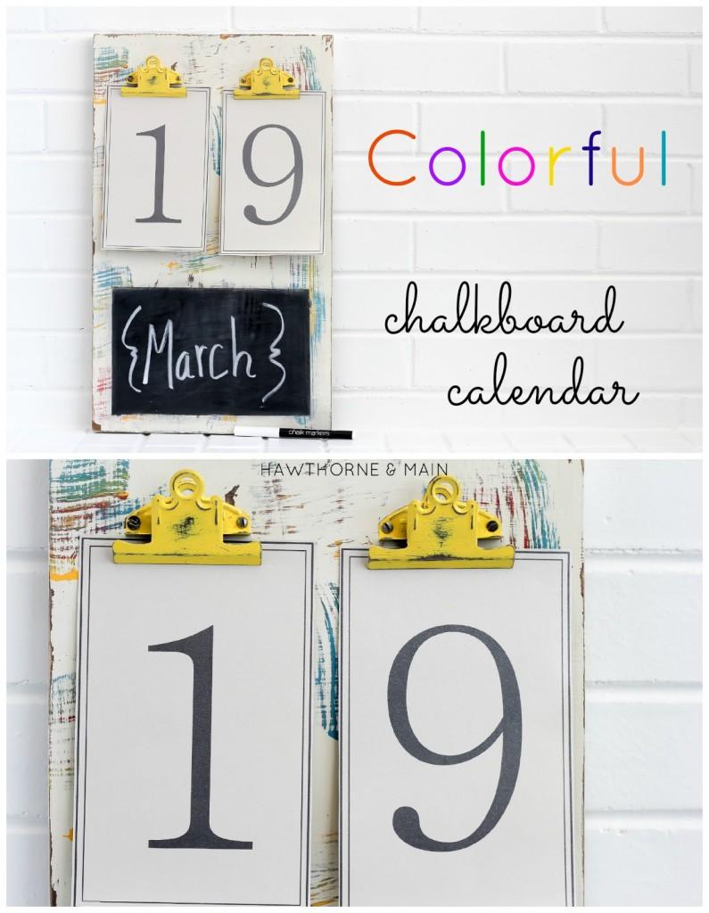 Calendar Design Diy : Colorful chalkboard calendar u hawthorne and main
