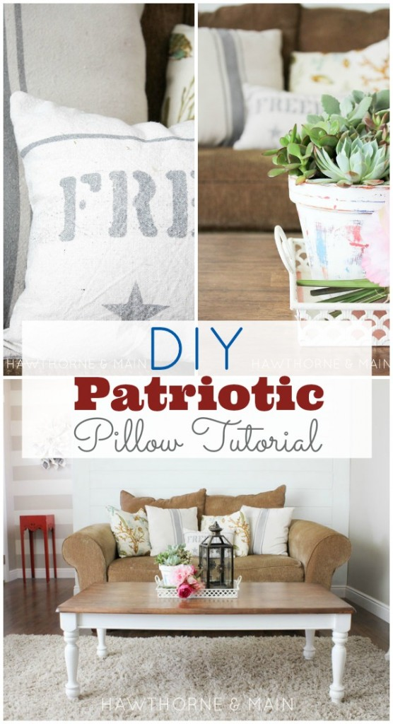 What a great way to decorate for summer.  This rustic diy freedom pillow is super easy to recreate!