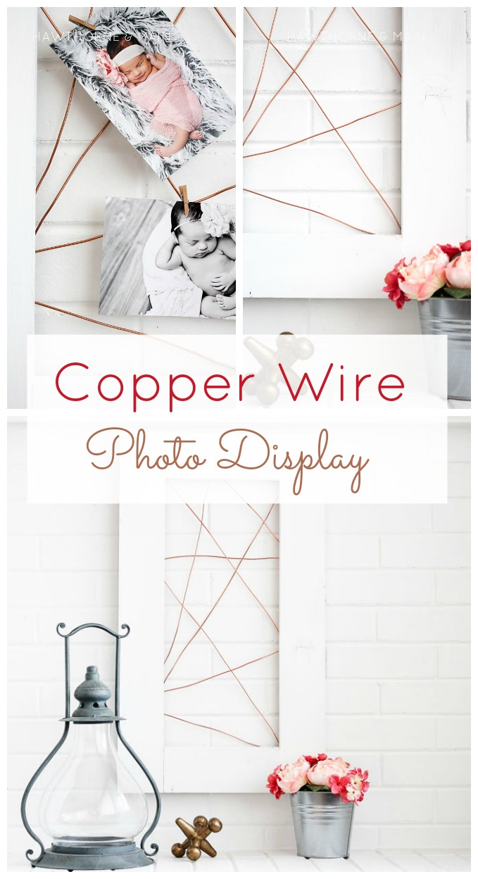 Copper wire is so fun and easy to work with. This diy copper wire photo display is so fun! I love the contrast between the copper wire and the white frame!