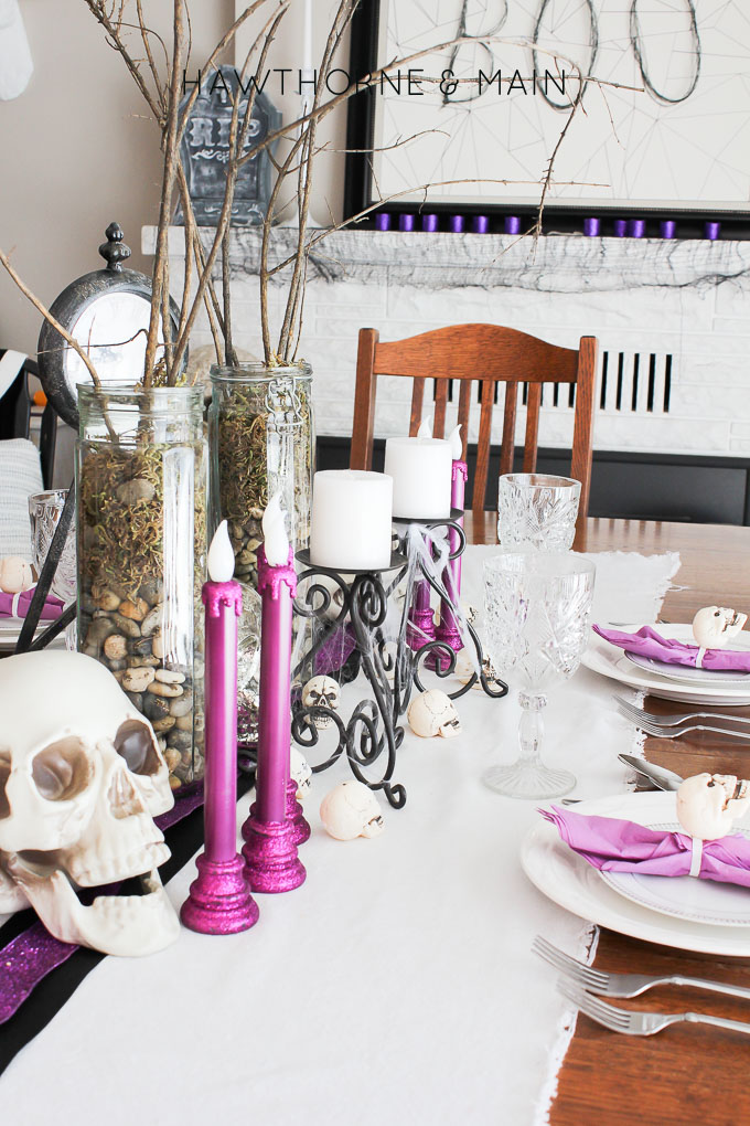 Come take a peek at my purple glam Halloween dinning room and mantel tour. I decided to go all out and use purple, black and white.  It turned to so fun!