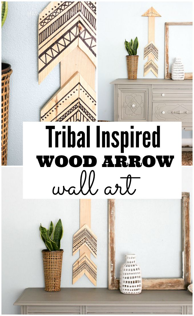 Tribal decor is so popular right now. Come learn how easy this tribal arrow wall art was to create. Let me show you how to make one too! Can you guess what was used to make the black lines?
