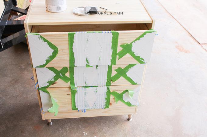 IKEA+rast+hack+paint+and+tape+tribal 9
