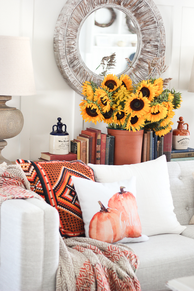 Come and be inspired as we walk through 14 fabulous fall home tours.  I love color but struggle to use it in my decor. These homes have used color so well!