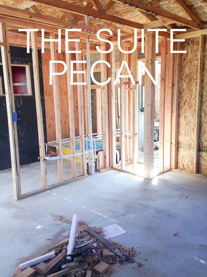The Suite Pecan....will be a pretty little suite that will be equipped with a full kitchen, bathroom, living area and bedroom. I think Suite is a good word because it will be small.