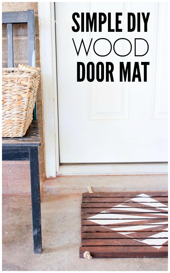 Wood door mat title  sc 1 st  Hawthorne and Main & Simple Wood Slat Door Mat