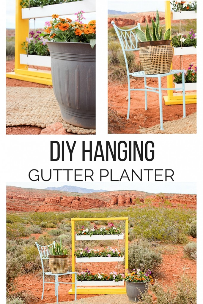 DIY Hanging Gutter Planter. This is a really fun and easy afternoon project that is sure to brighten up your outdoor space.