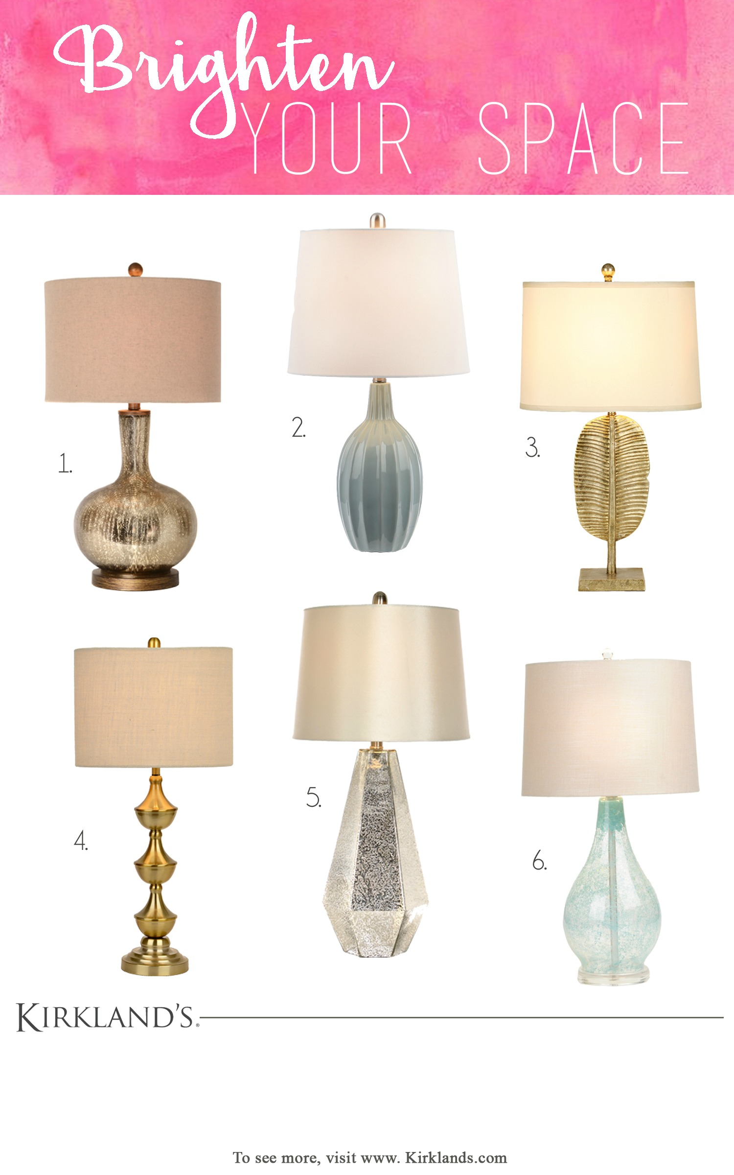 Brighten Your Space with New Lighting. This is a great roundup of lamps.  I think I love them all. Which is your favorite?