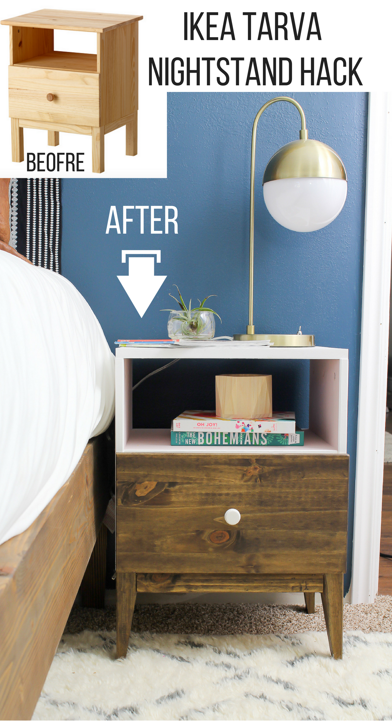 ikea tarva nightstand makeover. Black Bedroom Furniture Sets. Home Design Ideas
