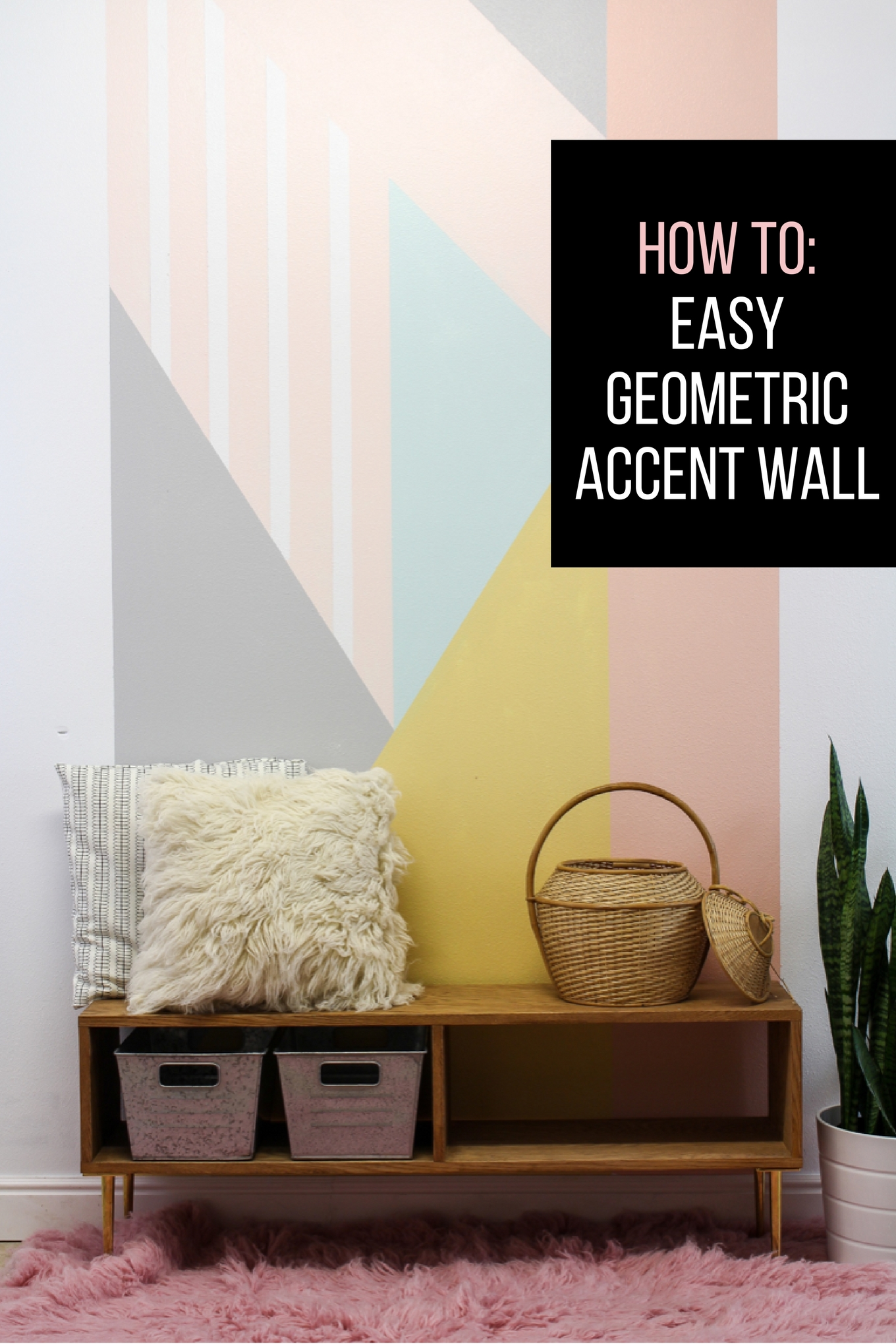 How to create an easy DIY geometric accent wall. The tutorial is very easy to follow and I love the pop of color! #ad #behrdesignstories