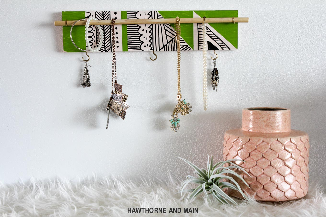 Loving this cute DIY jewelry holder. It looks like it is so easy to make with just a few supplies.