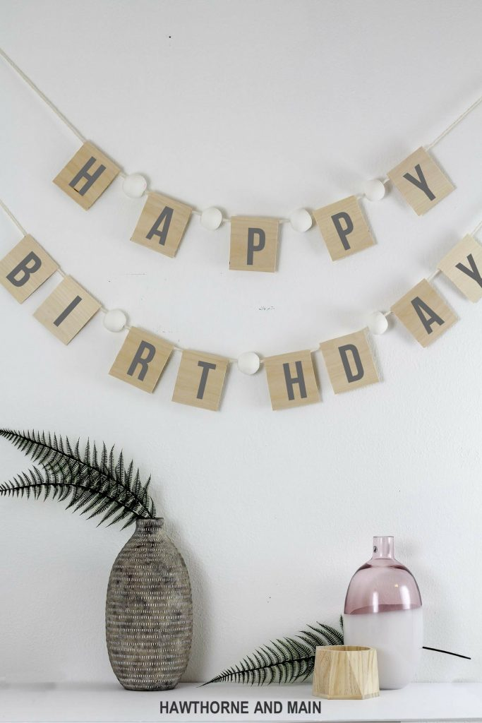 DIY balsa wood banner. This is great for parties or any occasion you want that extra special touch of wow!