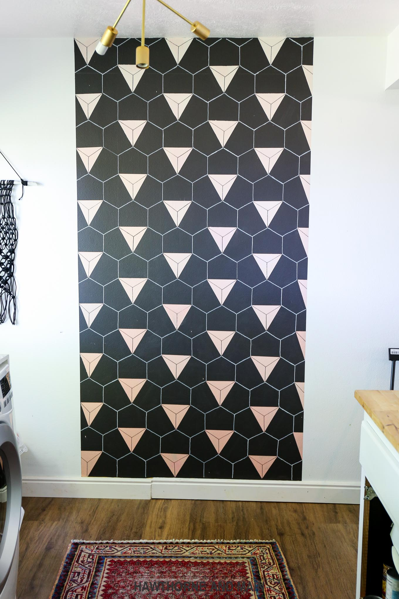 Black and Blush Geometric Accent Wall – HAWTHORNE AND MAIN