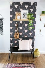 Black and Blush Geometric Accent Wall
