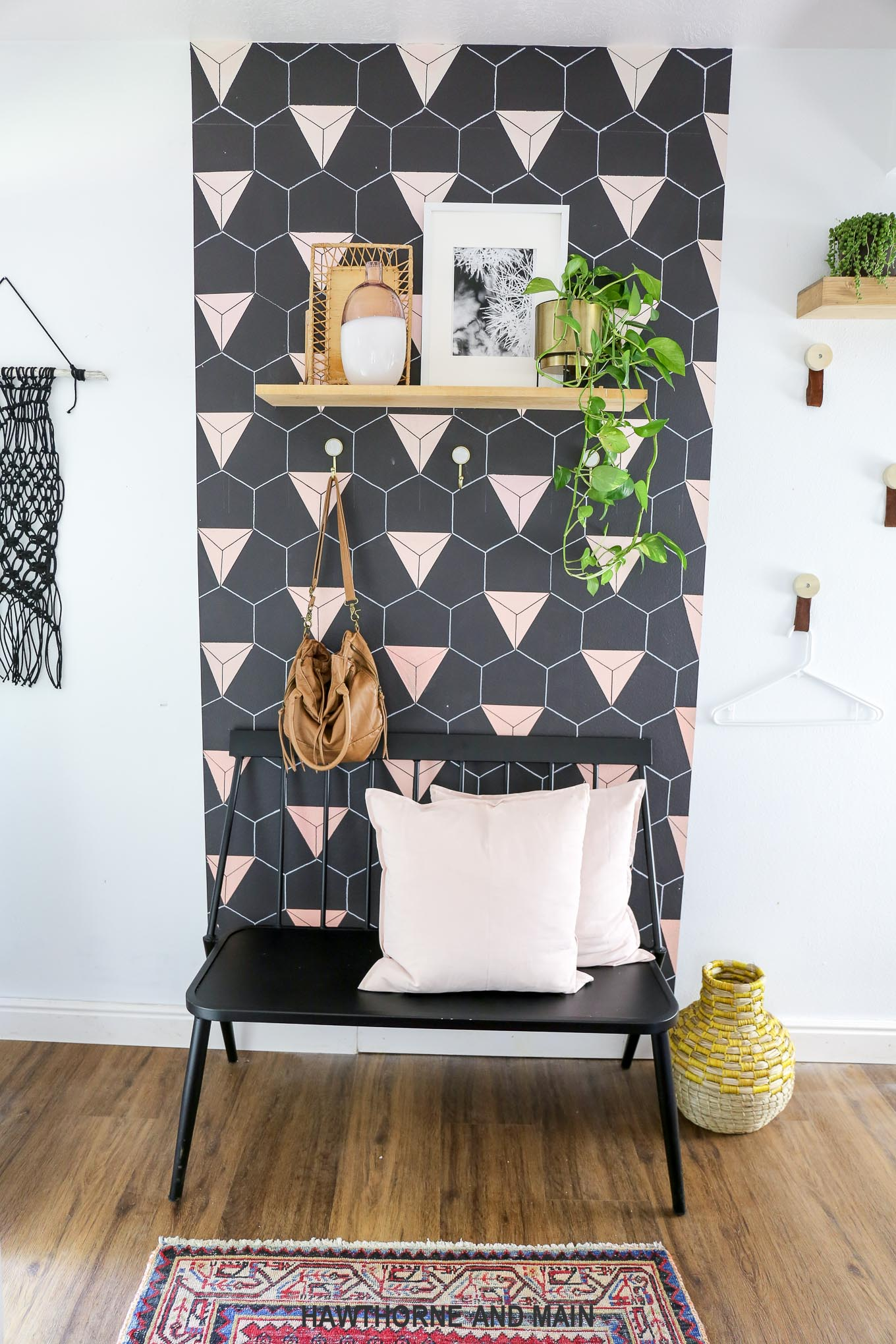 Black And Blush Geometric Accent Wall Hawthorne And Main